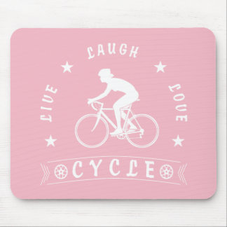 Lady's Live Laugh Love Cycle text (wht) Mouse Pad