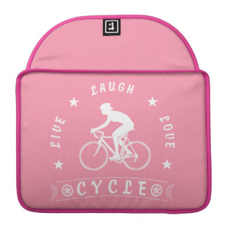 Lady's Live Laugh Love Cycle text (wht) Sleeve For MacBook Pro
