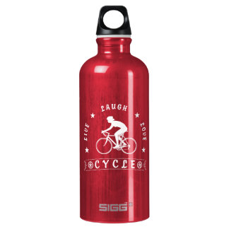 Lady's Live Laugh Love Cycle text (wht) Water Bottle