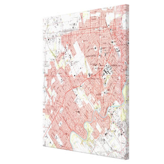 Lafayette Louisiana Map (1983) Canvas Print