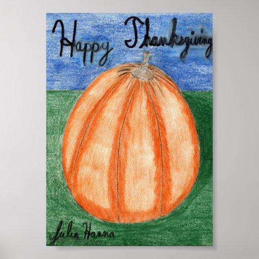 L'affiche de citrouille de bon thanksgiving par J