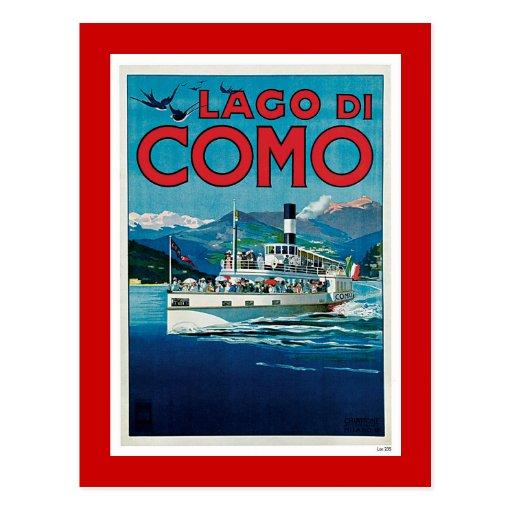 """Lago di Como"" Vintage Italian Travel Poster Post Card"