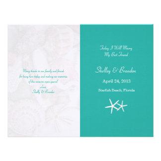 Lagoon Blue Starfish Wedding Program Cover Letterhead Template