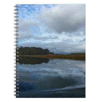 Lagoon reflections in a cloudy day spiral notebooks