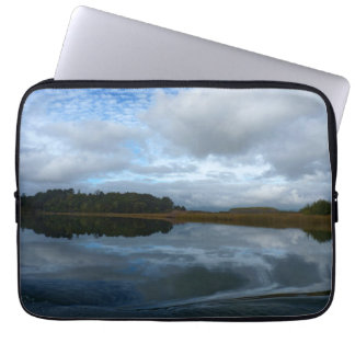 Lagoon reflections on a cloudy day laptop sleeve