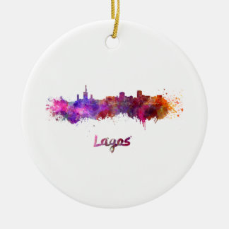 Lagos skyline in watercolor ceramic ornament
