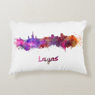 Lagos skyline in watercolor decorative pillow