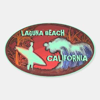 Laguna Beach California light green surf stickers