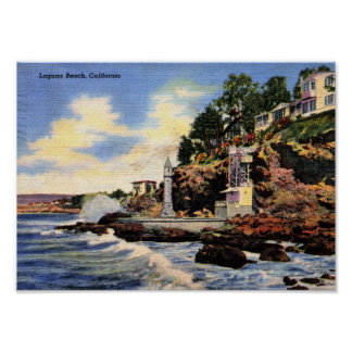 Laguna Beach, California, Vintage View Poster