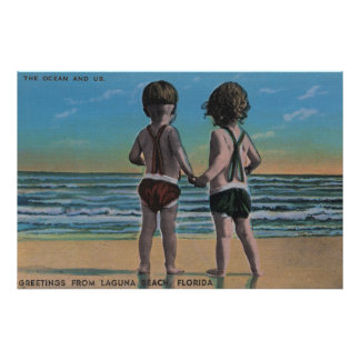 Laguna Beach, FL - Greetings From Scene w/ Kids Poster