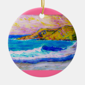laguna beach splash ceramic ornament