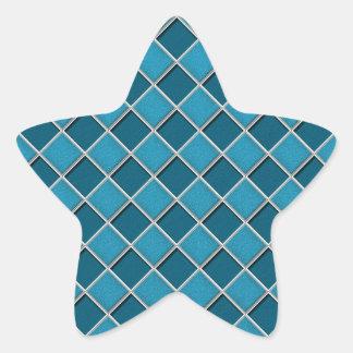 Laguna Blue 3D Checkers Star Sticker