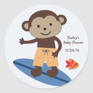 Laguna Surfer Monkey Stickers/Cupcake Toppers Classic Round Sticker