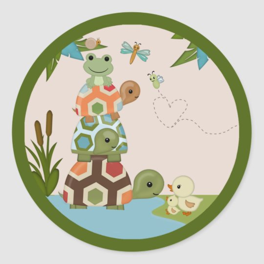 Laguna Turtle Baby Shower round sticker seal LTC