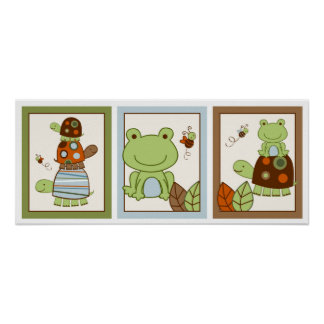 Laguna Turtle Frog Nursery Wall Art Print