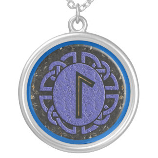 """laguz"" elder futhark silver plated necklace"