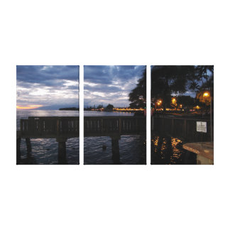 Lahaina City Lights at Sunset Canvas Print