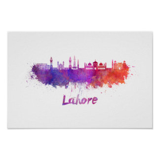 Lahore skyline in watercolor poster