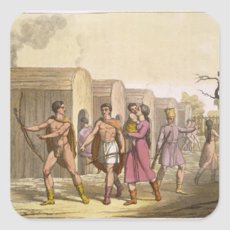 Lahoutan Indians, Canada (colour engraving) Stickers