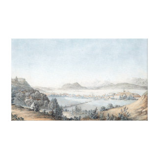 Laibach Basin with Fortress Laibach and Karawanken Canvas Print