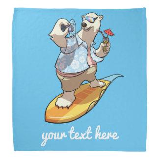 Laid Back Polar Bear Surfer Cartoon With Caption Head Kerchiefs