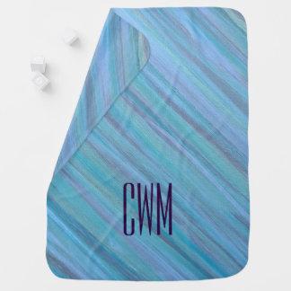 Laidback Baby | Monogram Turquoise Aqua Blue | Baby Blanket