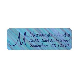 Laidback Office Blue Turquoise Aqua Monogram Name Return Address Label