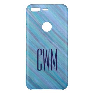 Laidback Tech | Monogram Turquoise Aqua Blue | Uncommon Google Pixel Case