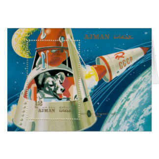 Laika First Dog In Space Note Card by Brad Hines