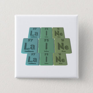 Laine  as Lanthanum Iodine Neon 2 Inch Square Button
