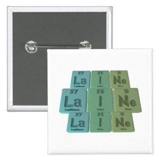 Laine  as Lanthanum Iodine Neon 2 Inch Square Button