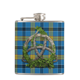 Laing Tartan And Celtic Trinity Knot Hip Flask