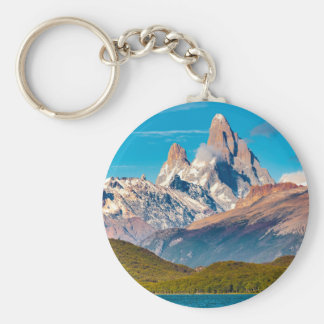 Lake and Andes Mountains, Patagonia - Argentina Basic Round Button Keychain