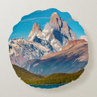 Lake and Andes Mountains, Patagonia - Argentina Round Pillow