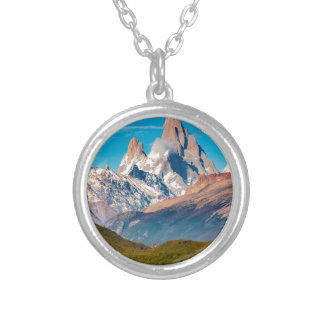 Lake and Andes Mountains, Patagonia - Argentina Silver Plated Necklace