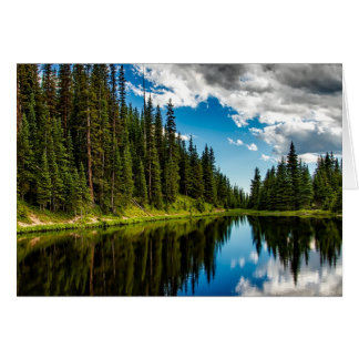Lake and Evergreen Tree lined Greeting Card
