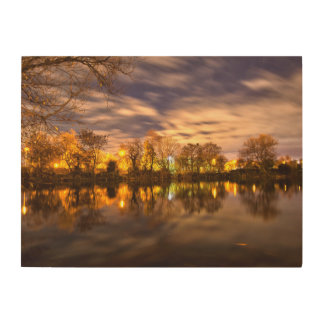 Lake at night wood wall decor