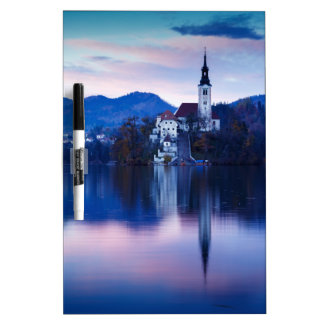 Lake Bled and the Island church Dry Erase Boards