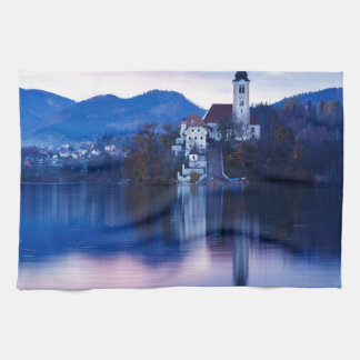 Lake Bled and the Island church Hand Towels
