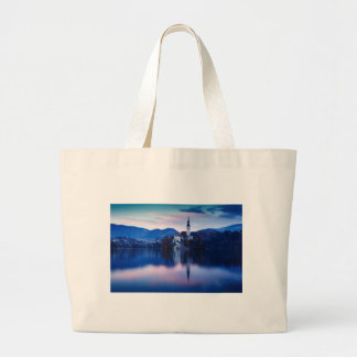 Lake Bled and the Island church Large Tote Bag