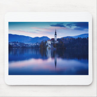 Lake Bled and the Island church Mouse Pad