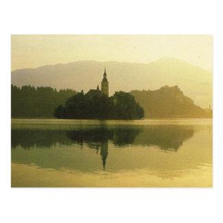Lake Bled, former Yugoslavia, Vintage image Postcard
