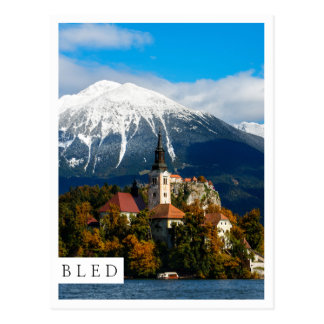 Lake Bled landscape in autumn Postcard