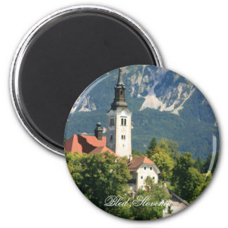 Lake Bled ,Slovenia 2 Inch Round Magnet
