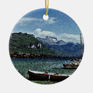 Lake Boats and Mountains in Annecy France Ceramic Ornament