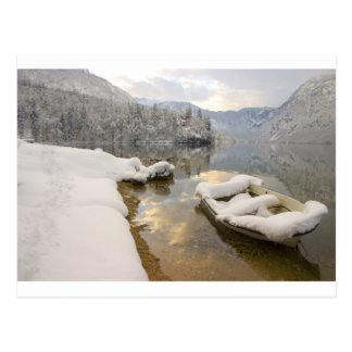 Lake Bohinj in winter, Slovenia Postcard