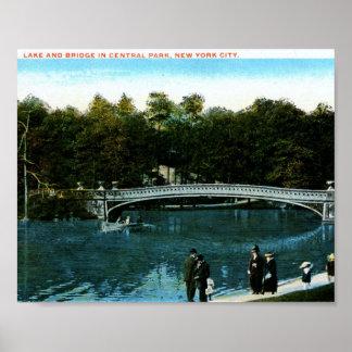 Lake, Central Park, New York City Vintage Poster