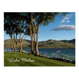 Lake Chelan Washington State Boat & Trees Postcard