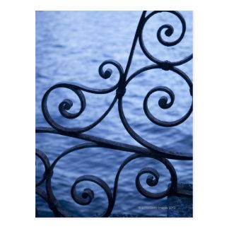 Lake Como, detail, view of walkway iron railing Postcard