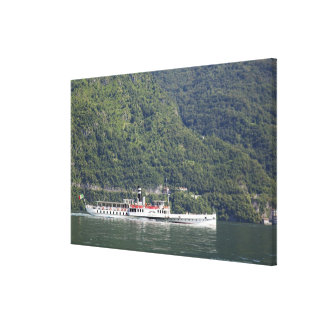 Lake Como, ferry boat Canvas Print
